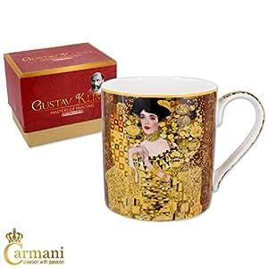 Carmani - Tazza classica decorata con dipinti di Gustav Klimt 'Adele' 380ml