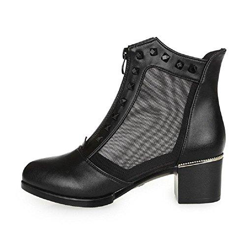 Frühling und Herbst Mode Niet Sandalen Front-RV Atmungsaktive Hohl Highheels , black , 35 (Rainbow Sandalen Classic)