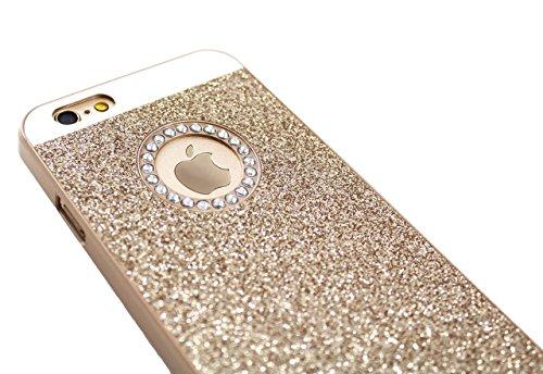 iPhone 4 4s Edel Glitzer Bling Elegant Tasche Handy Hülle Schutzhülle Hard Case Rückseite Back Cover mit Diamant Strass-Steine in Silber Gold