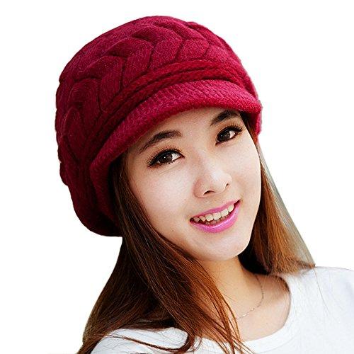 Culater® Femmes Chapeau d'hiver skullies Bonnets Chapeaux Tricotés Rabbit Fur Casquette Rouge