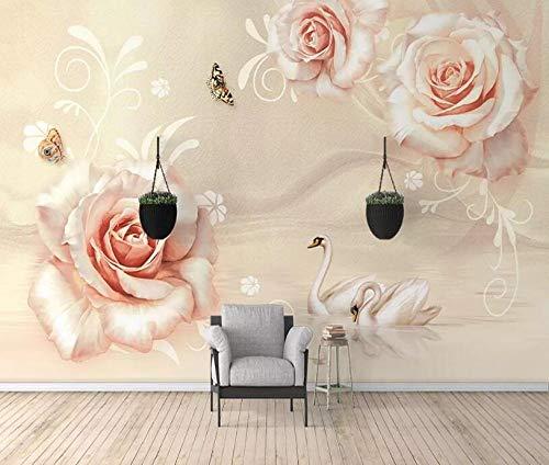 3D Fototapete Wandbild 350 cm x 256 cm Champagner Rose Schmetterling Schwan Ölgemälde Vliestapeten Wandbild Wohnzimmer Wohnkultur Malerei -