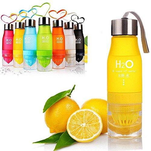 W&X Neueste auslaufsicher Tragbar 650ml Orange H2O-Ei Sports Wasser Flasche Gesundheit Saft Zitruspresse Cup, Eigene Natürliche Fuit infundiert Wasser für gesundes Getränke–Edelstahl Flasche, Gelb