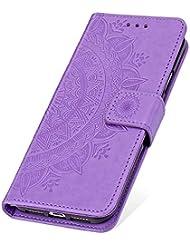 SainCat Cover per LG G7 ThinQ, Custodia Libro Portafoglio Pelle Fiore Ultra Sottile con Chiusura Magnetica Funzione Supporto Antiurto 360 Gradi Premium Flip Cover per LG G7 ThinQ-Porpora