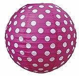 LS-LebenStil LS-Design Lampenschirm Papierlampe Lampion Japanballon Rot-Pink Weiss Punkte 50cm