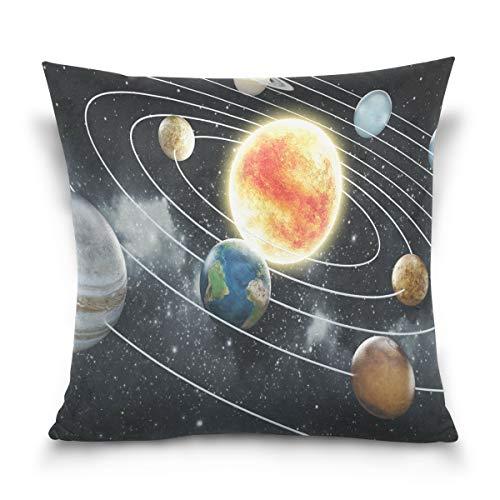 Use7 Funda de Almohada Decorativa, Funda de cojín Cuadrada, Sistema Solar Planeta,...