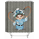 HUIYIYANG Home Bathroom Decorative Shower Bath Curtains,Lovely Peking Opera Dolls for Chinese Traditional Culture Pattern,100% Polyester Fabric Shower Curtain 36