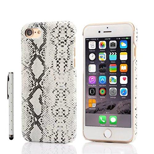 iPhone 7 Plus Coque Case, Fine Poids léger Dur Plastique Housse de Protection Python Skin Conception Seire pour Apple iPhone 7 Plus 5.5 inch X 1 stylet blanc