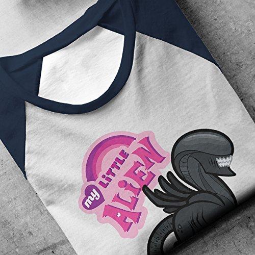 My Little Alien My Little Pony Mashup Men's Baseball Long Sleeved T-Shirt White/Navy