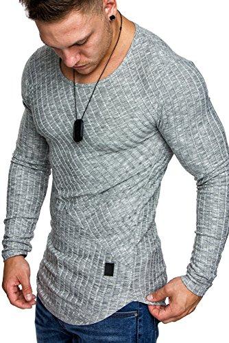 Amaci&Sons Oversize Slim-fit Muscleshirt Vintage Herren Feintrick Pullover Sweatshirt Crew-Neck 6039 Grau M (Crew Sweatshirt)