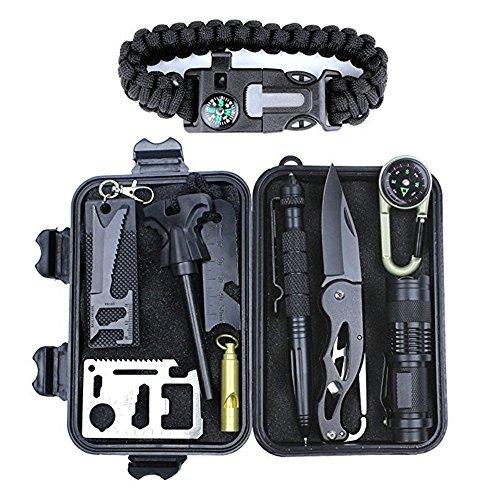 AIYIOUWEI Survival Gear Kit 11 In 1, Professionale Di Emergenza Outdoor Set Di Sopravvivenza, Per Il Campeggio, Escursioni, Viaggi O Avventure Necessarie