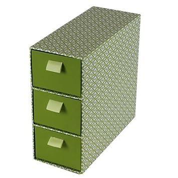 jvl 3drawer high quality grade cardboard slim retro decorative storage box tower with ribbon handles green amazoncouk kitchen u0026 home