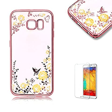 For Samsung Galaxy S6 Edge Plus Case [with Free Screen Protector], Funyye Bling Sparkle Rhinestone (Rose Gold) Electroplate Plating Frame Crystal Soft Gel Silicone TPU Case Cover (Yellow Green Flower) Design for Samsung Galaxy S6 Edge Plus