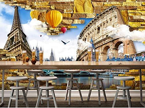 Gewohnheit Irgendeine Größe Eiffelturm Alte Stadt 3D Wandgemälde Hintergrund Wand Wohnkultur Kunst Tapete Wandbild