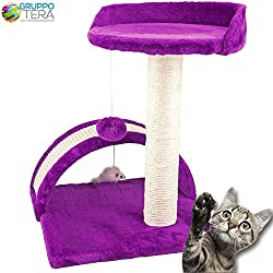 Bakaji - Rascadores para gatos, color violeta, suave velboa con palo de sisal de 50 cm, con juego de pelota, túnel y cucha con juego de ratón.