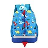 Kinder Rucksack Kleinkind Kinder Tasche für Jungen Mädchen mit Sicherheitsgurt Leine Litte Schultasche Netter Dinosaurier Rucksack Design für Kinder 2-6 Alter (Blau)