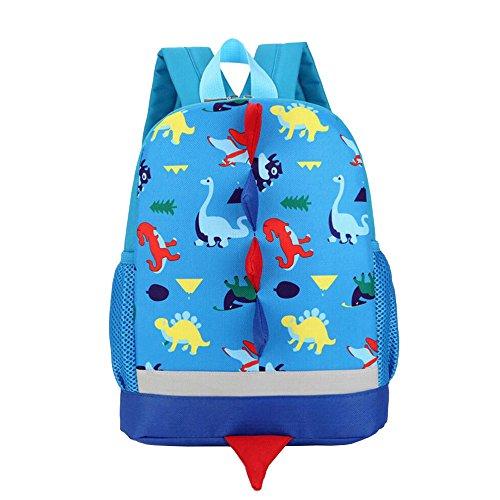 Kinder Rucksack Kleinkind Kinder Tasche für Jungen Mädchen mit Sicherheitsgurt Leine Litte Schultasche Netter Dinosaurier Rucksack Design für Kinder 2-6 Alter (Blau) (Freien, Kleinkind, Im Spielzeug)