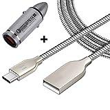 [i!®] KFZ Auto Schnellladegerät + 1m USB-C Ladekabel Datenkabel Ladeset für Handy, Tablet, Smartphone | Silber