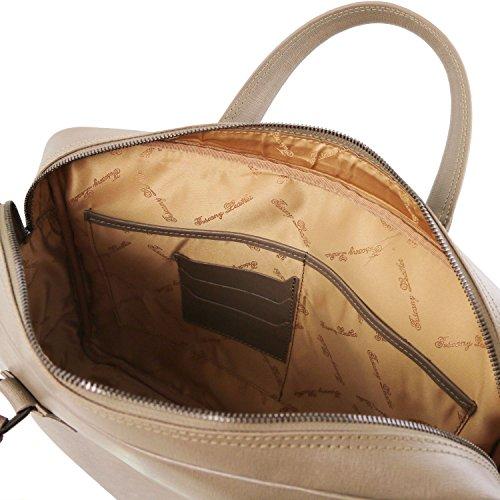 Tuscany Leather Urbino Cartella porta computer in pelle Saffiano con tasca frontale Talpa scuro Talpa scuro