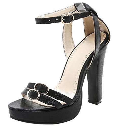COOLCEPT Femmes Elegant Cheville Sandales Soiree Robe Bloc Talon hauts Chaussures Noir