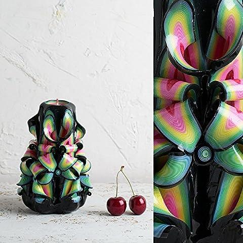 Schwarz mit hellen, lebendigen und Karneval Farben - Dekorativ geschnitzte Kerze - EveCandles (Einheit-kerze Vase)