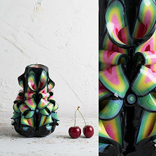 lebendigen und Karneval Farben - Dekorativ geschnitzte Kerze - EveCandles ()