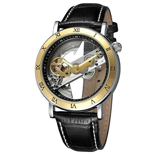 FORSINING Men\'s Unique Luxury Automatic Movement Leather Strap Skeleton Analog Watch FSG9418M3T1