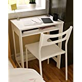 Ikazs Wood Computer Moving Desk WhiteSimple White Finish Office Computer Desk / Workstation / Study Table with Large Storage Drawer by DMF