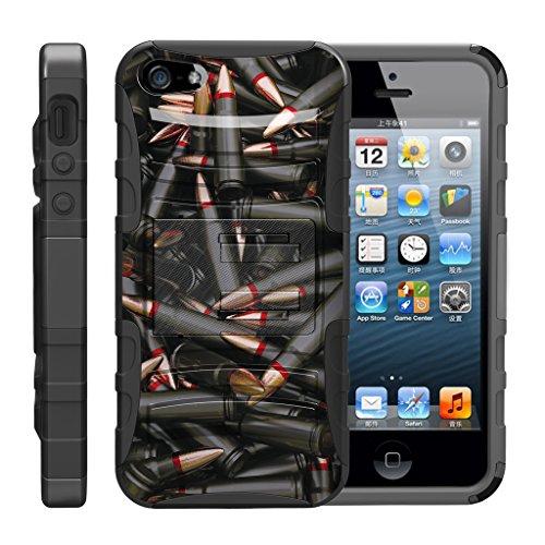 TurtleArmor - Kompatibel für Apple iPhone SE Hülle, iPhone 5 / 5S [Hyperschock] Robuste Hybrid-Hartschale mit Ständer Clip Militär-Roboter Android Design -, Black Bullets