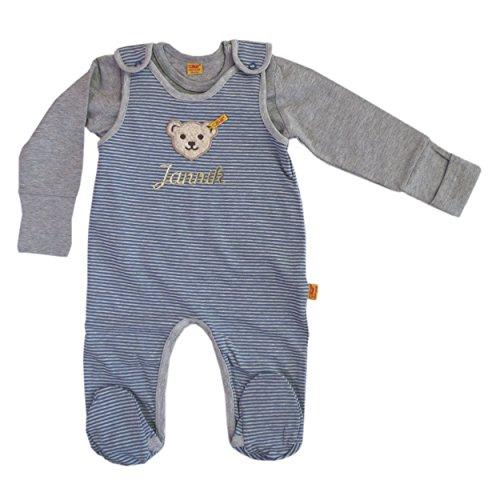 Steiff Set 2tlg. Strampler o. Arm mit Ihrem Wunschnamen bestickt und T-Shirt 1/1 Arm grau / blau newborn be my No1 (62)