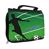 Kulturbeutel mit Namen Jonathan und Fußballer-Motiv mit Tor für Jungen | Kulturtasche mit Vornamen | Waschtasche für Kinder