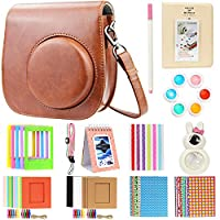 Brappo 13 Piece Accessories Bundles Set for Fujifilm Instax Mini 8/8+/9 Instant Film Camera (Case/Mini Album/Close-up Selfie Lens/Colors Filters/Frames/Stickers), Brown