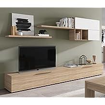 habitdesign f mueble de comedor mueble salon moderno color blanco brillo y roble
