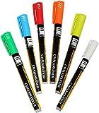 Unbekannt 6 Stück _ Kreidestifte - flüssig -  Bunte Farben  - dünn bis 2 mm / wasserfest & trotzdem abwischbar - für Fast ALLE Materialien - z.B. Tafel & Fenster / Me..