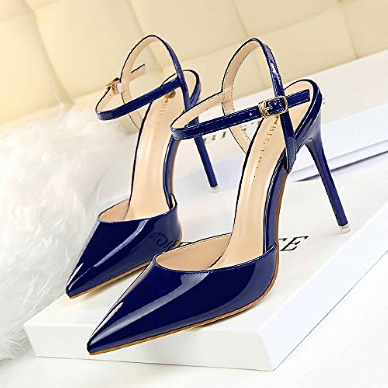 GAOLIM Spitze Frühling und Sommer Sandalen Schuhe Damen Schuhe mit mit dünnem High Heels Schuhe mit Buchse silberfarben