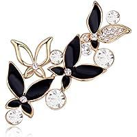 Crystalline Azuria Spilla a forma di cuore con fiori bianchi e neri con cristalli Swarovski placcati in oro 18 ct da…