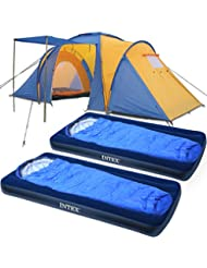 Camping-Komplett-Set / Zeltset bestehend aus Monkey Mountain Family Zelt 2 x Intex Luftbett + 2 x Mumienschlafsack