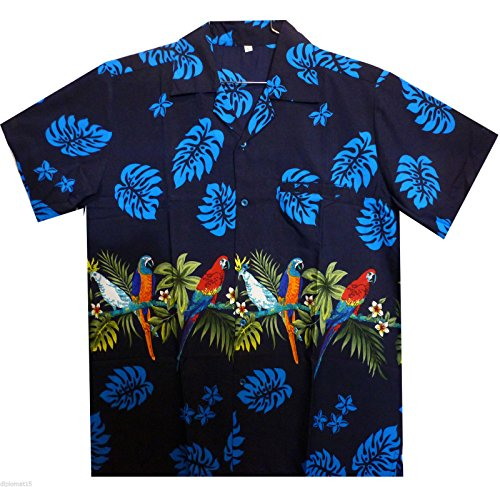 Funky Hawaiihemd, Papagei Brustdruck, blau, (Kostüm Muster Papagei)
