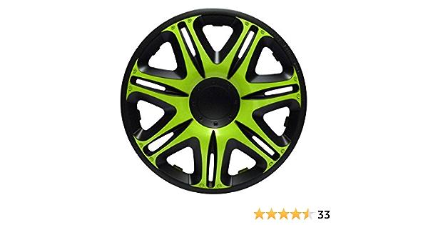Zentimex Radkappen Radzierblenden Radabdeckungen 15 Zoll 166 Green Black GrÜn Schwarz Auto