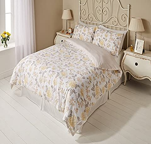 ENGLISH GARDEN YELLOW FLORAL FLOWERS REVERSIBLE DUVET SET QUILT COVER PILLOWCASE BEDDING 3 SIZES (King Size) by Pieridae