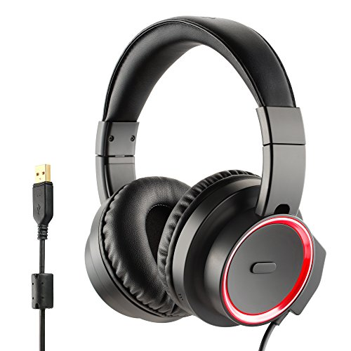Price comparison product image Redimp USB Over-Ear Gaming Headset 7.1 Virtual Surround Sound Noise-Canceling Microphone LED Red Light For PC Laptop Mac PS4