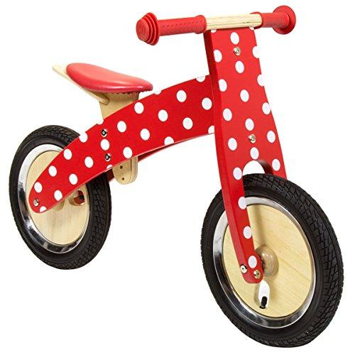 Charles Bentley - Kinder Laufrad aus Holz - Rot mit Punkten - ab 3 Jahren
