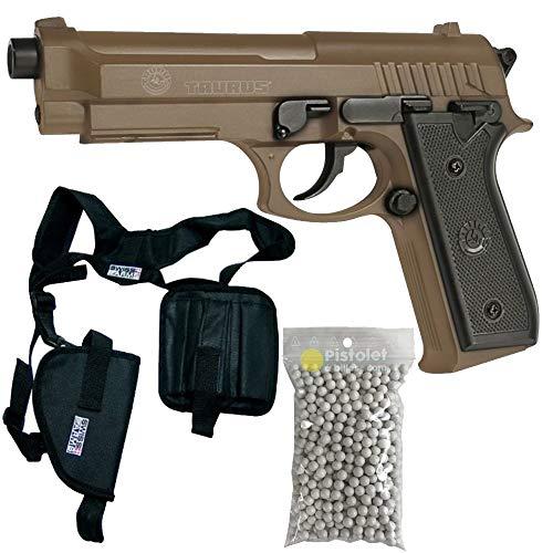 Pack complet Pistolet Culasse métal Taurus PT92 à Ressort/Spring/Rechargement Manuel (0.5 Joule)/ avec Accessoires