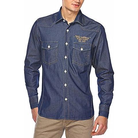 M.Conte men jeans shirt camisa de mezclilla mangas largos para hombre Leon