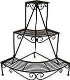 KUHEIGA Blumentreppe für die Ecke Metall H: 90cm B: 103cm Pflanzentreppe Blumenständer