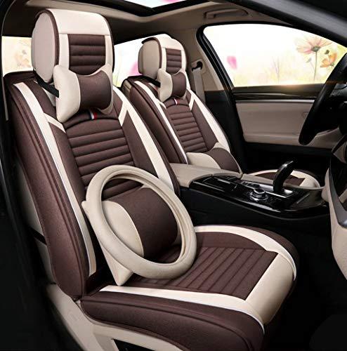 Yunchu Autositzbezug Flachs Atmungsaktives Komfort-Autositzkissen - Vorder- und Hinterreihe, 5 Sitzplätze, kompletter Satz Auto sitzbezüge (Color : Brown, Size : Deluxe) - Matrix Auto Toyota Sitzbezüge