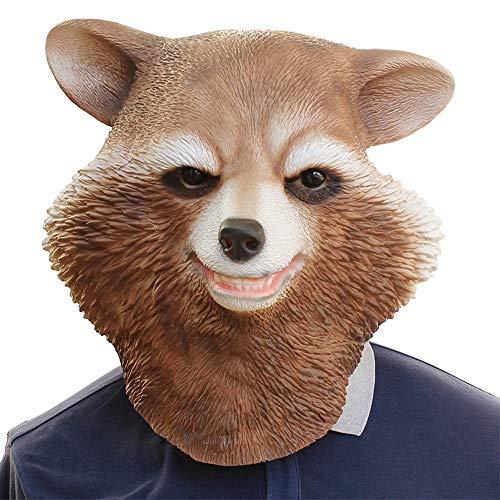 XIAOMAN Waschbär Kopf Maske Realistische Latex Gesichtsmaske Halloween Cosplay Kostüm Weihnachtsfeier Rollenspiele Spielzeug ( Color : Brown , Size : One Size )