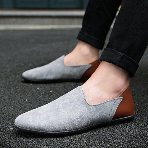 Anguang Hommes Confortable Chaussures Flâneur Décontractée De plein air Au volant Chaussures Mocassins Gris