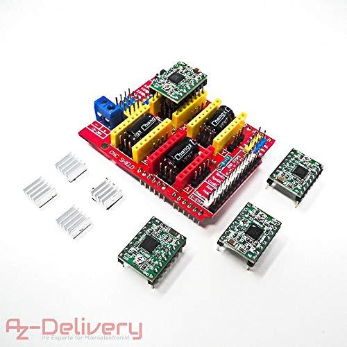 AZDelivery ⭐⭐⭐⭐⭐ CNC Shield V3 Bundle mit 4 Stück A4988 Schrittmotor Treiber Stepper mit Kühlkörper für Arduino, 3D Drucker