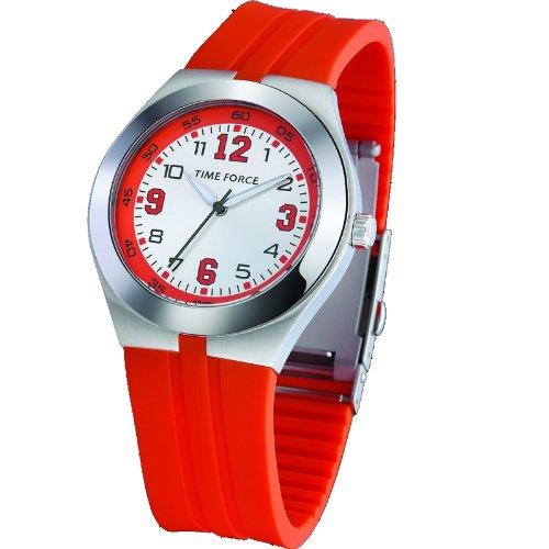 Reloj TIME FORCE unisex. Acero Correa de silicona. Naranja. TF-2932M12