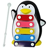 Beetest-EU-Kids Baby Plastic Cartoon Penguin Shape Musical Educational Knocking Music Instrument Toy with Knocking Stick for Over 6 Months Babies Black